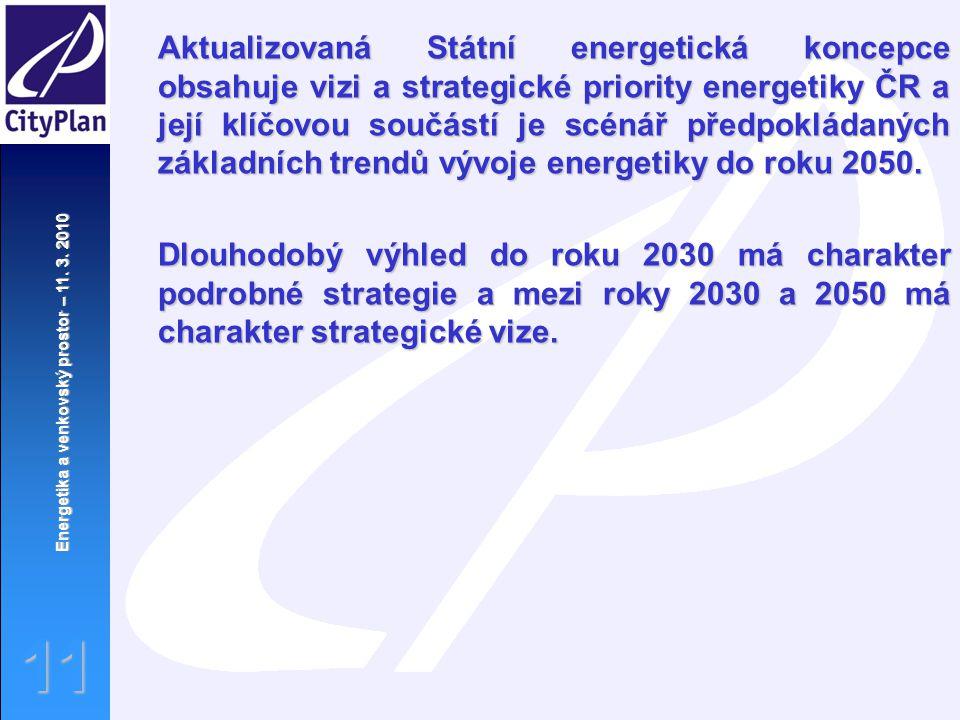 Energetika a venkovský prostor – 11. 3. 2010 11 Aktualizovaná Státní energetická koncepce obsahuje vizi a strategické priority energetiky ČR a její kl