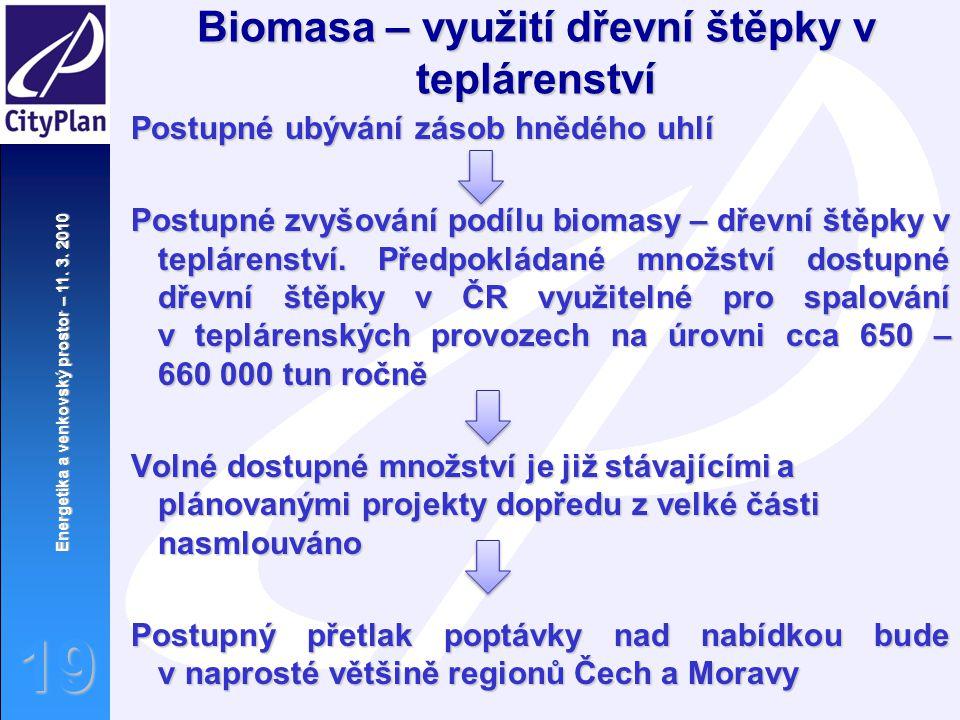 Energetika a venkovský prostor – 11. 3. 2010 19 Biomasa – využití dřevní štěpky v teplárenství Postupné ubývání zásob hnědého uhlí Postupné zvyšování