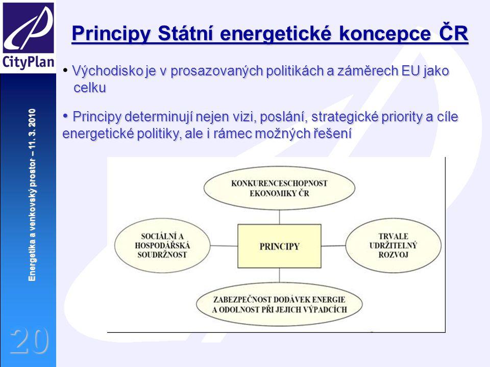 Energetika a venkovský prostor – 11. 3. 2010 20 Principy Státní energetické koncepce ČR Východisko je v prosazovaných politikách a záměrech EU jako ce