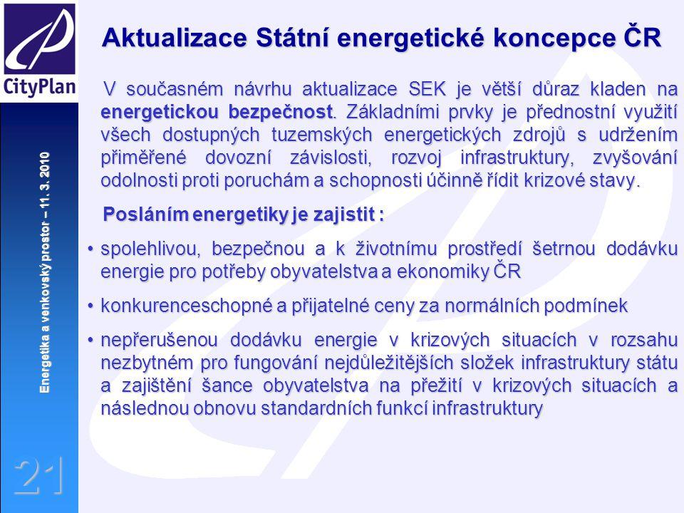 Energetika a venkovský prostor – 11. 3. 2010 21 Aktualizace Státní energetické koncepce ČR V současném návrhu aktualizace SEK je větší důraz kladen na