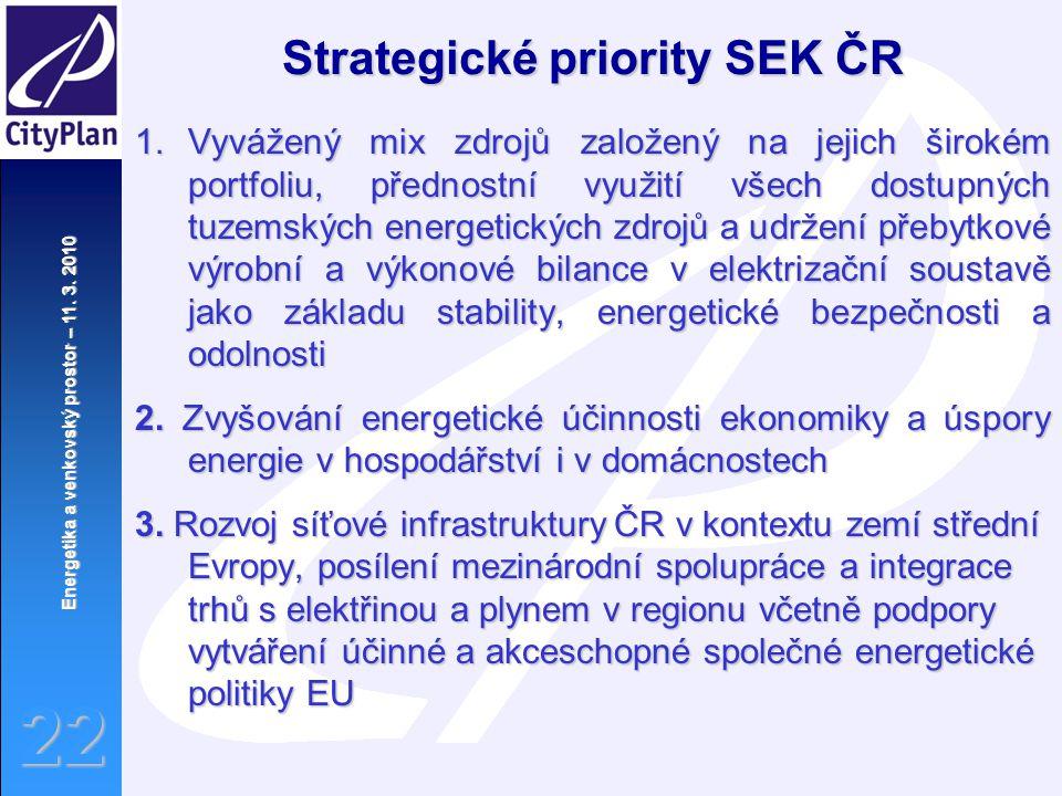 Energetika a venkovský prostor – 11. 3. 2010 22 1.Vyvážený mix zdrojů založený na jejich širokém portfoliu, přednostní využití všech dostupných tuzems