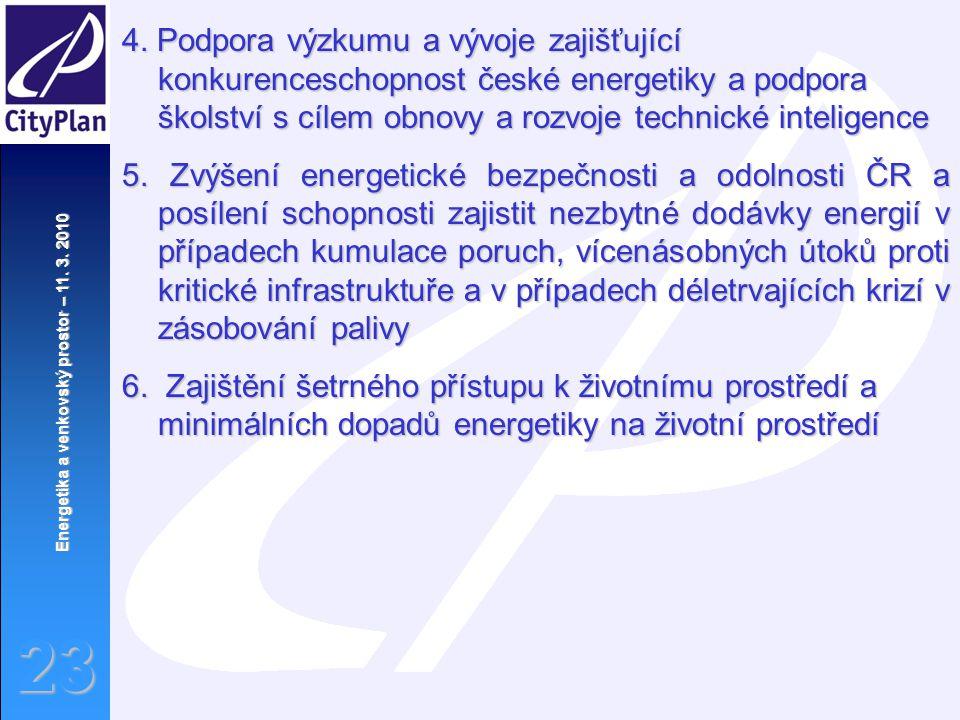 Energetika a venkovský prostor – 11. 3. 2010 23 4. Podpora výzkumu a vývoje zajišťující konkurenceschopnost české energetiky a podpora školství s cíle