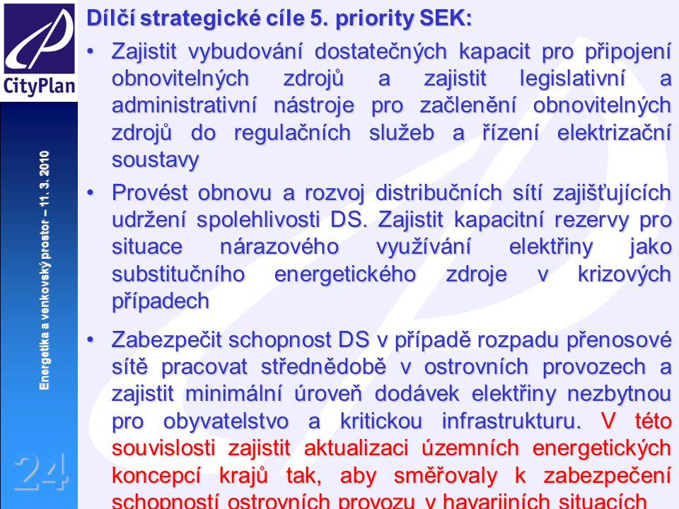 Energetika a venkovský prostor – 11. 3. 2010 24 Dílčí strategické cíle 5. priority SEK: Zajistit vybudování dostatečných kapacit pro připojení obnovit