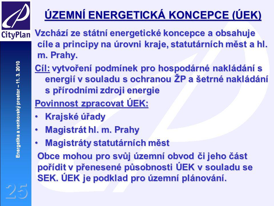 Energetika a venkovský prostor – 11. 3. 2010 25 ÚZEMNÍ ENERGETICKÁ KONCEPCE (ÚEK) Vzchází ze státní energetické koncepce a obsahuje cíle a principy na