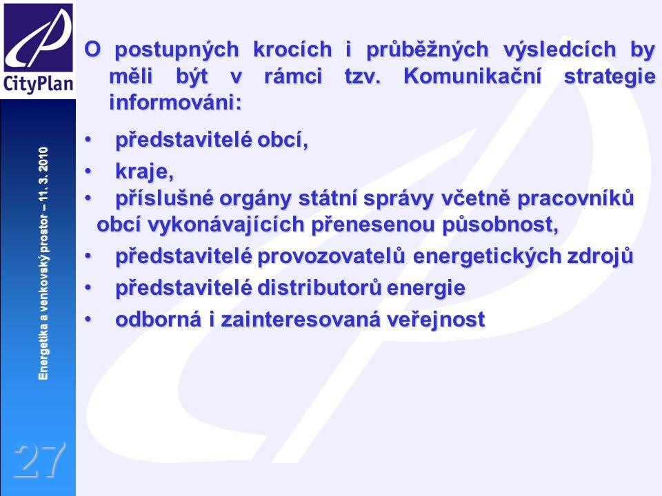 Energetika a venkovský prostor – 11. 3. 2010 27 O postupných krocích i průběžných výsledcích by měli být v rámci tzv. Komunikační strategie informován