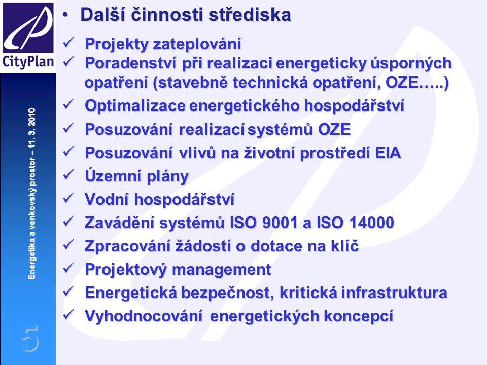 Energetika a venkovský prostor – 11. 3. 2010 5 Další činnosti střediskaDalší činnosti střediska Projekty zateplování Projekty zateplování Poradenství