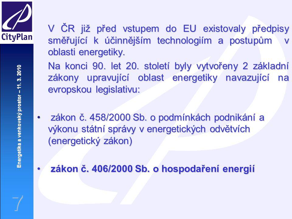 Energetika a venkovský prostor – 11. 3. 2010 7 V ČR již před vstupem do EU existovaly předpisy směřující k účinnějším technologiím a postupům v oblast