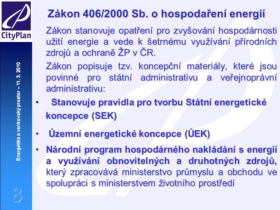 Energetika a venkovský prostor – 11. 3. 2010 8 Zákon 406/2000 Sb. o hospodaření energií Zákon stanovuje opatření pro zvyšování hospodárnosti užití ene