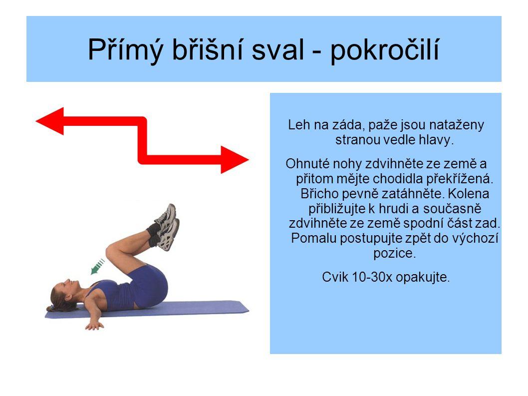 Přímý břišní sval - pokročilí Leh na záda, paže jsou nataženy stranou vedle hlavy.