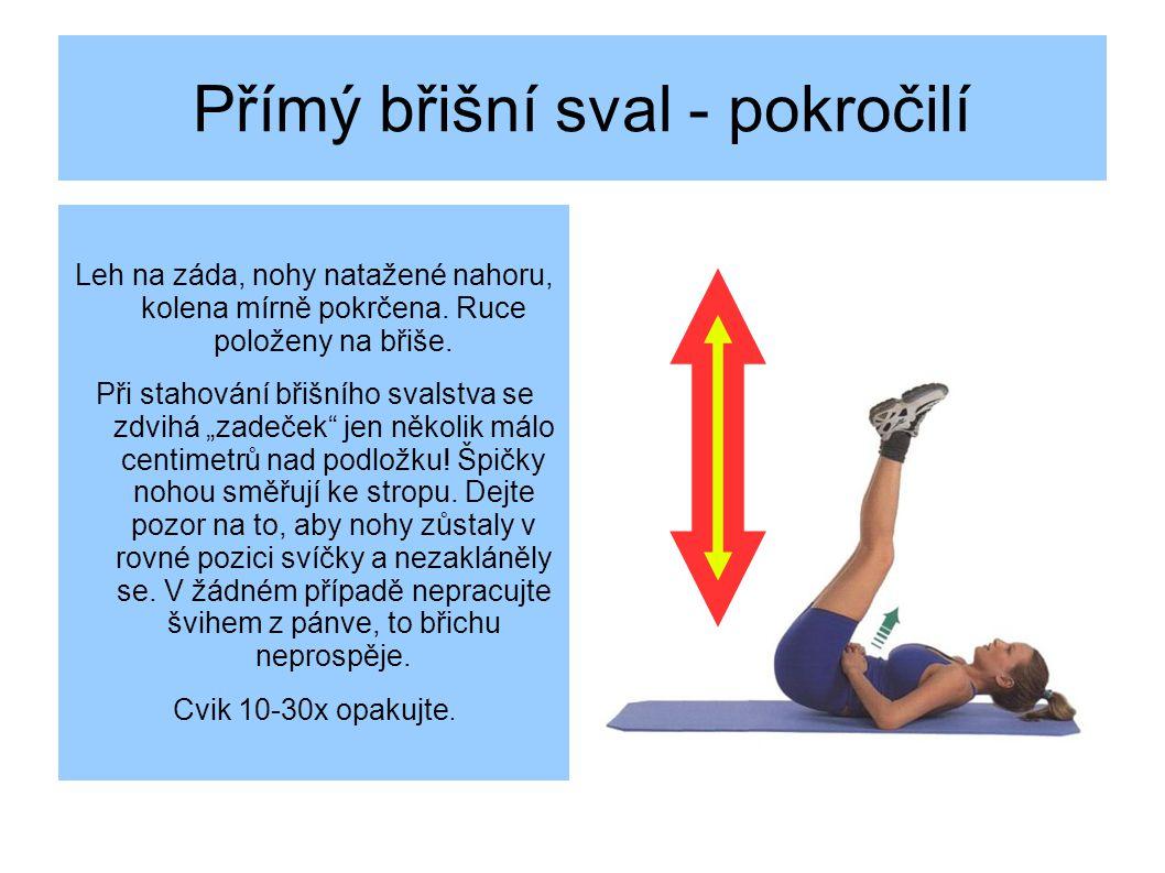 Přímý břišní sval - pokročilí Leh na záda, nohy natažené nahoru, kolena mírně pokrčena.