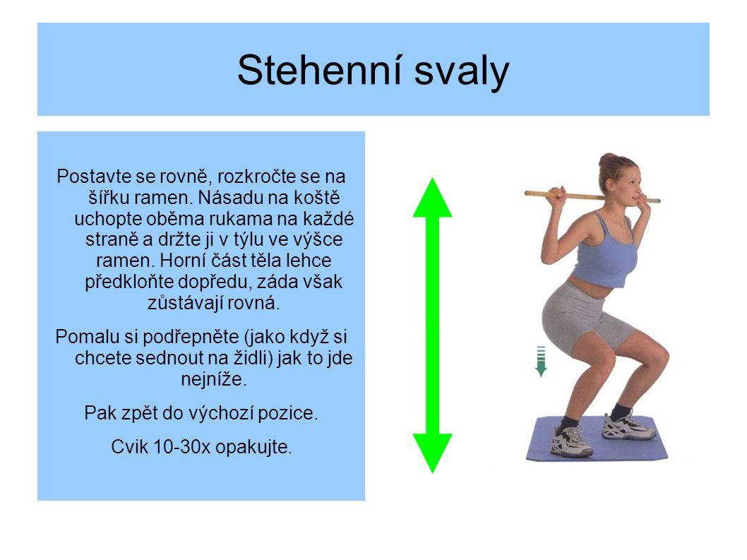 Stehenní svaly Postavte se rovně, rozkročte se na šířku ramen.