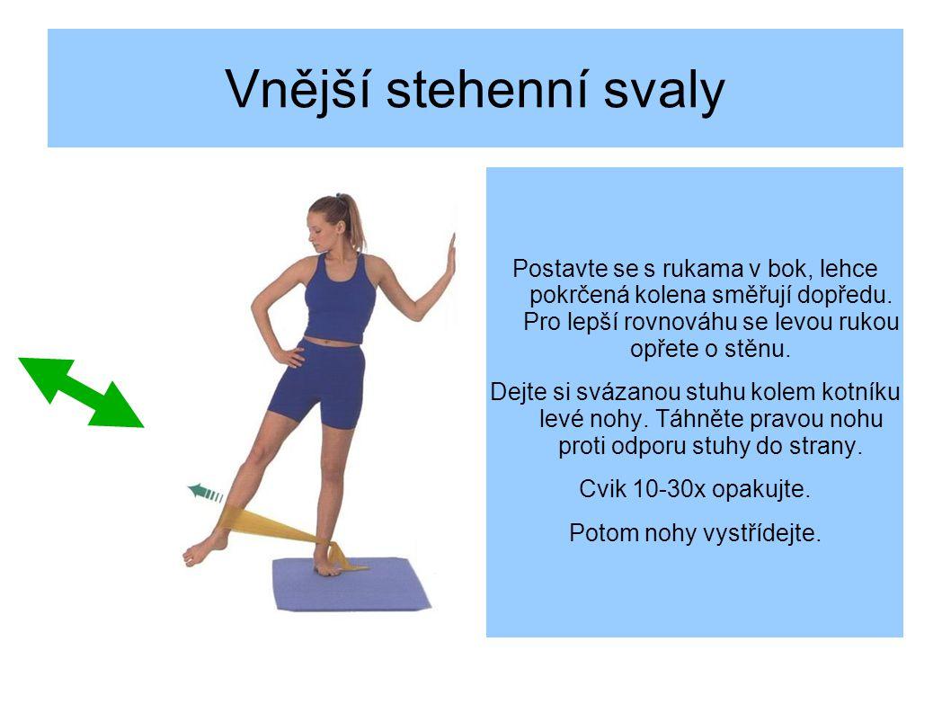 Vnější stehenní svaly Postavte se s rukama v bok, lehce pokrčená kolena směřují dopředu.
