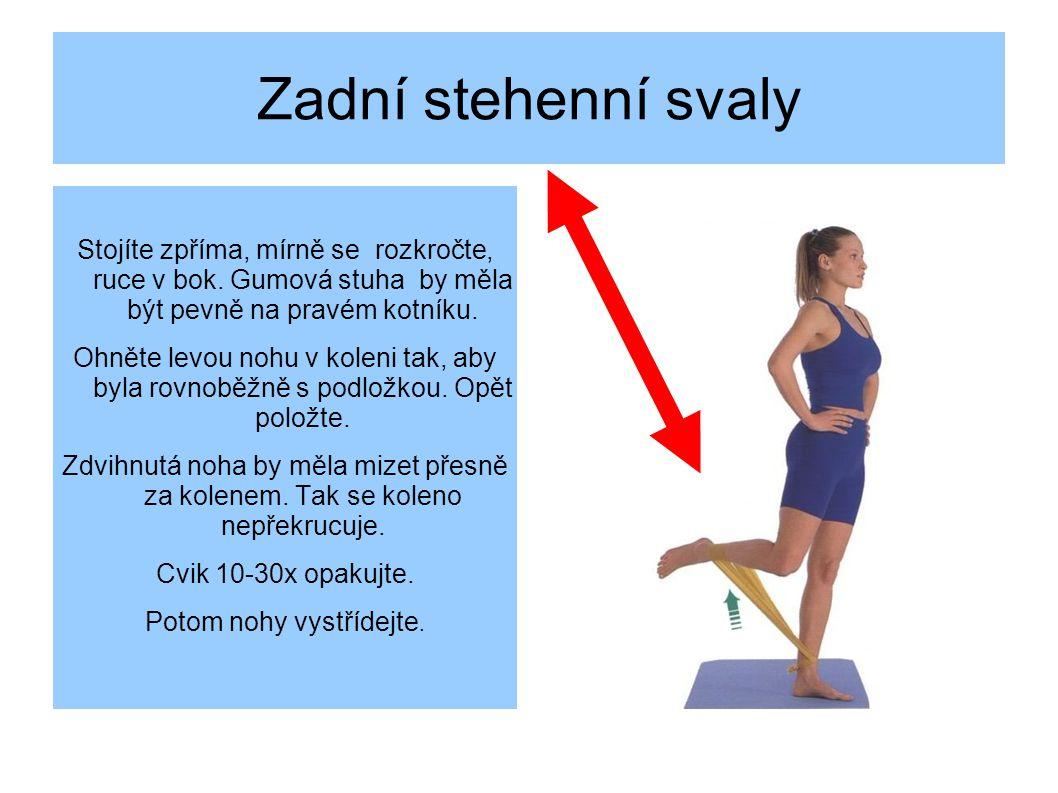 Zadní stehenní svaly Stojíte zpříma, mírně se rozkročte, ruce v bok.
