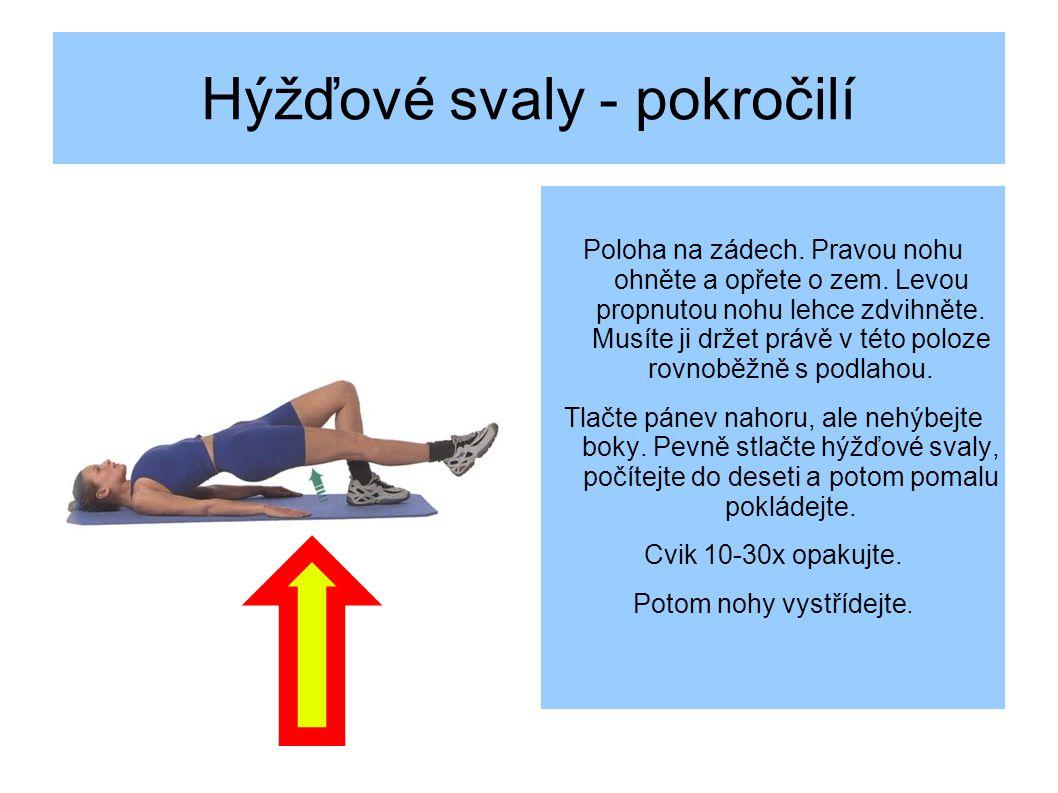 Hýžďové svaly - pokročilí Poloha na zádech.Pravou nohu ohněte a opřete o zem.