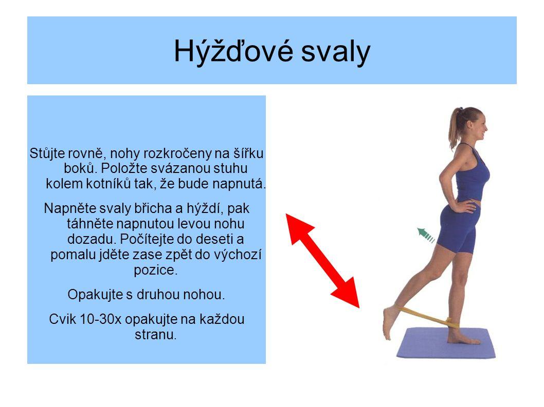 Hýžďové svaly Stůjte rovně, nohy rozkročeny na šířku boků.