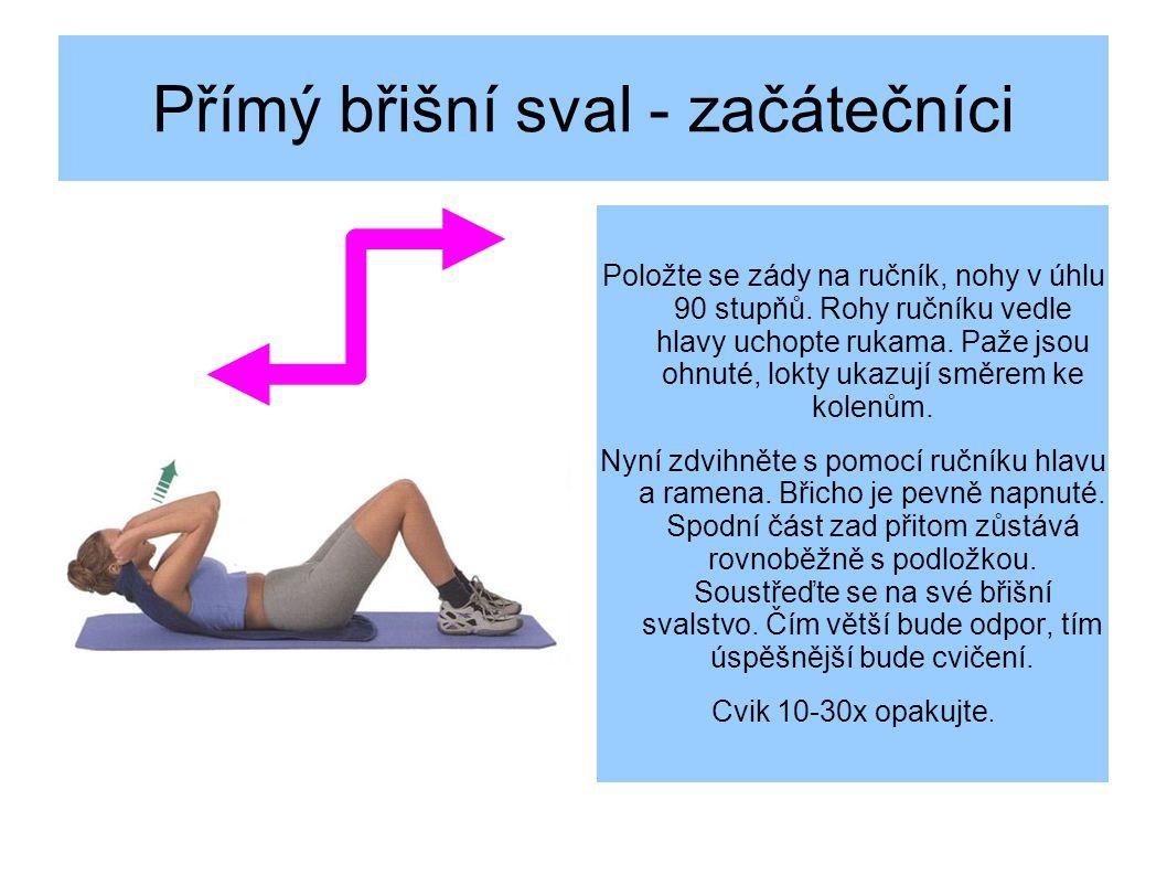Přímý břišní sval - začátečníci Položte se zády na ručník, nohy v úhlu 90 stupňů.