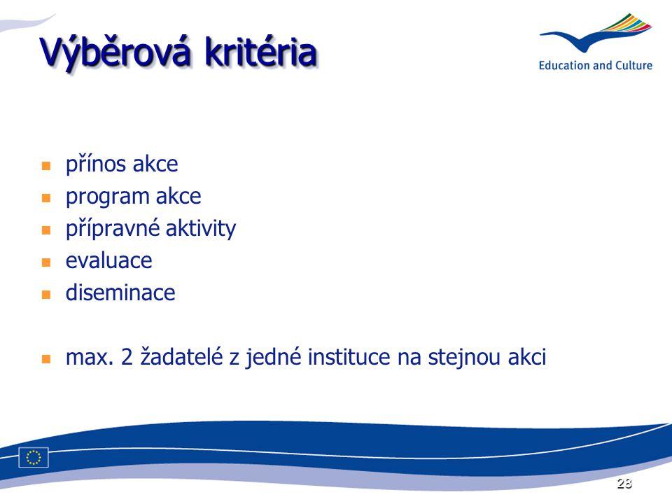 28 Výběrová kritéria přínos akce program akce přípravné aktivity evaluace diseminace max.