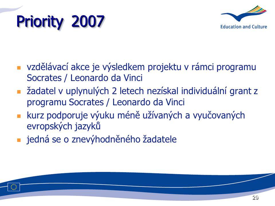 29 Priority2007 vzdělávací akce je výsledkem projektu v rámci programu Socrates / Leonardo da Vinci žadatel v uplynulých 2 letech nezískal individuální grant z programu Socrates / Leonardo da Vinci kurz podporuje výuku méně užívaných a vyučovaných evropských jazyků jedná se o znevýhodněného žadatele
