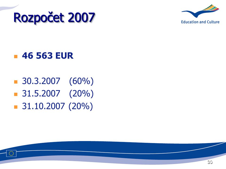 30 Rozpočet 2007 46 563 EUR 30.3.2007 (60%) 31.5.2007 (20%) 31.10.2007 (20%)