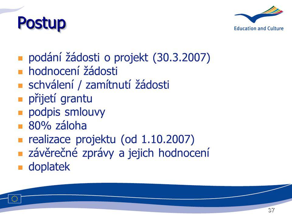 37 PostupPostup podání žádosti o projekt (30.3.2007) hodnocení žádosti schválení / zamítnutí žádosti přijetí grantu podpis smlouvy 80% záloha realizace projektu (od 1.10.2007) závěrečné zprávy a jejich hodnocení doplatek