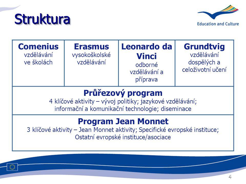 4 StrukturaStruktura Comenius vzdělávání ve školách Erasmus vysokoškolské vzdělávání Leonardo da Vinci odborné vzdělávání a příprava Grundtvig vzdělávání dospělých a celoživotní učení Průřezový program 4 klíčové aktivity – vývoj politiky; jazykové vzdělávání; informační a komunikační technologie; diseminace Program Jean Monnet 3 klíčové aktivity – Jean Monnet aktivity; Specifické evropské instituce; Ostatní evropské instituce/asociace