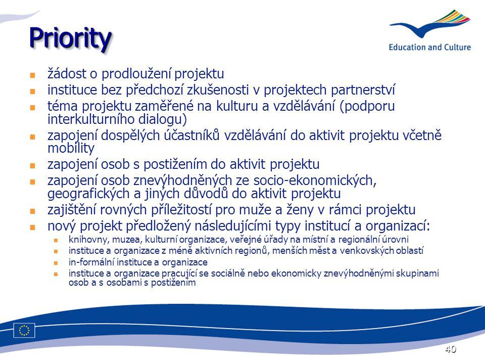 40 PriorityPriority žádost o prodloužení projektu instituce bez předchozí zkušenosti v projektech partnerství téma projektu zaměřené na kulturu a vzdělávání (podporu interkulturního dialogu) zapojení dospělých účastníků vzdělávání do aktivit projektu včetně mobility zapojení osob s postižením do aktivit projektu zapojení osob znevýhodněných ze socio-ekonomických, geografických a jiných důvodů do aktivit projektu zajištění rovných příležitostí pro muže a ženy v rámci projektu nový projekt předložený následujícími typy institucí a organizací: knihovny, muzea, kulturní organizace, veřejné úřady na místní a regionální úrovni instituce a organizace z méně aktivních regionů, menších měst a venkovských oblastí in-formální instituce a organizace instituce a organizace pracující se sociálně nebo ekonomicky znevýhodněnými skupinami osob a s osobami s postižením
