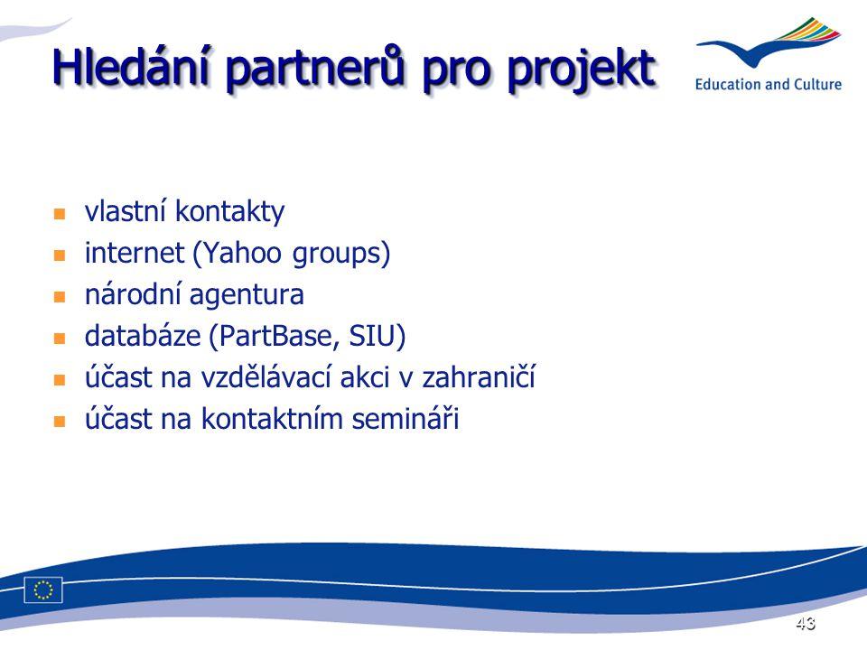 43 Hledání partnerů pro projekt vlastní kontakty internet (Yahoo groups) národní agentura databáze (PartBase, SIU) účast na vzdělávací akci v zahraničí účast na kontaktním semináři