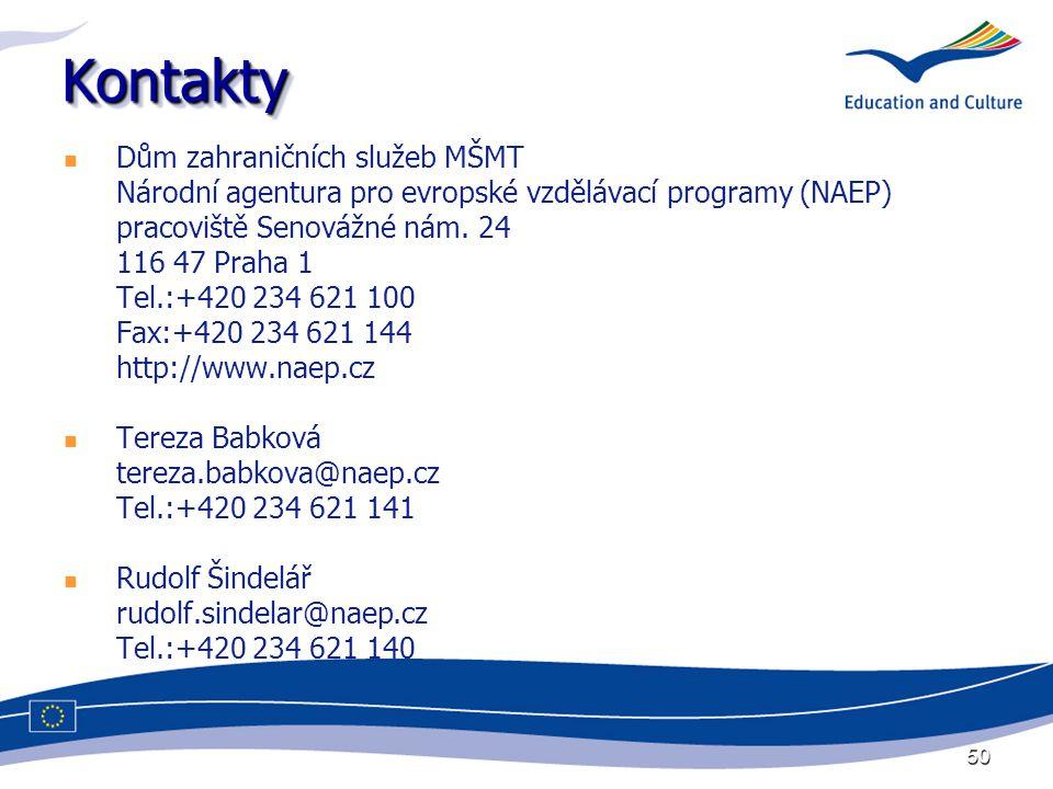 50 KontaktyKontakty Dům zahraničních služeb MŠMT Národní agentura pro evropské vzdělávací programy (NAEP) pracoviště Senovážné nám.