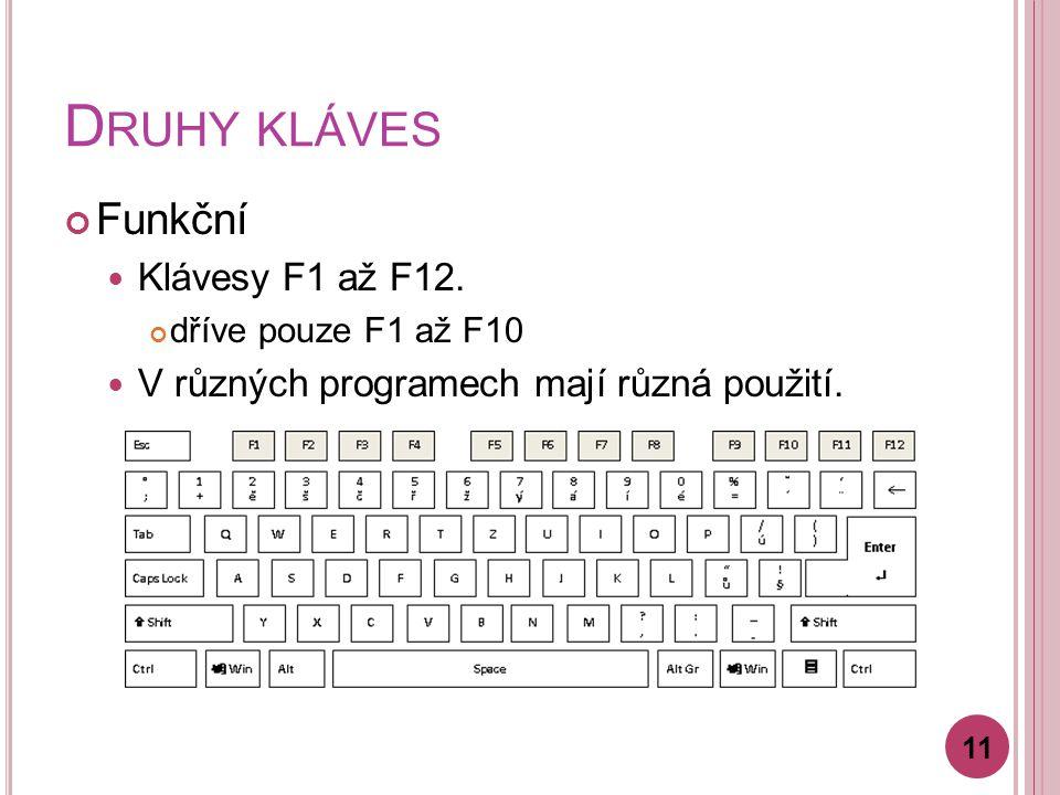 D RUHY KLÁVES Funkční Klávesy F1 až F12. dříve pouze F1 až F10 V různých programech mají různá použití. 11