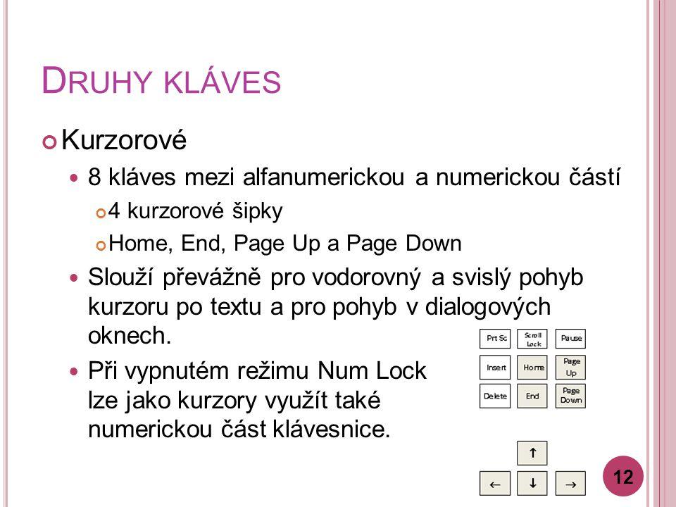 D RUHY KLÁVES Kurzorové 8 kláves mezi alfanumerickou a numerickou částí 4 kurzorové šipky Home, End, Page Up a Page Down Slouží převážně pro vodorovný a svislý pohyb kurzoru po textu a pro pohyb v dialogových oknech.