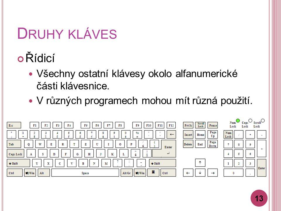 D RUHY KLÁVES Řídicí Všechny ostatní klávesy okolo alfanumerické části klávesnice. V různých programech mohou mít různá použití. 13