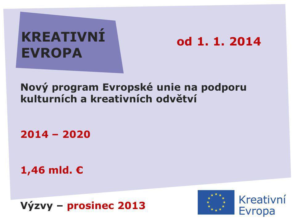 27.11.2013 KREATIVNÍ EVROPA Kulturní a kreativní odvětví v Evropě 4,5 % HDP - 4 % pracovních míst - rozvoj a růst  roztříštěnost trhu  globalizace a přechod na digitální ekonomiku  přístup k financování  nedostatek dat