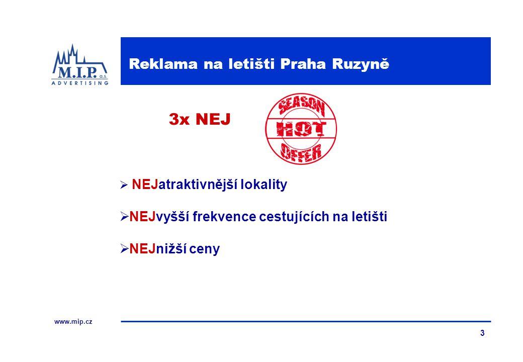 www.mip.cz 3  NEJatraktivnější lokality  NEJvyšší frekvence cestujících na letišti  NEJnižší ceny 3x NEJ Reklama na letišti Praha Ruzyně