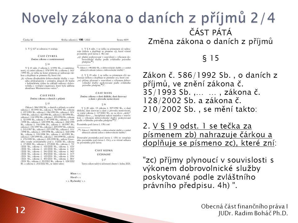 ČÁST PÁTÁ Změna zákona o daních z příjmů § 15 Zákon č.