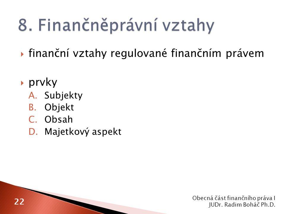  finanční vztahy regulované finančním právem  prvky A.Subjekty B.Objekt C.Obsah D.Majetkový aspekt Obecná část finančního práva I JUDr.