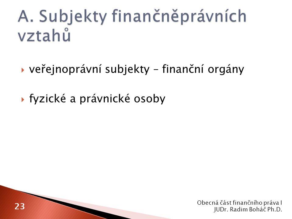  veřejnoprávní subjekty – finanční orgány  fyzické a právnické osoby Obecná část finančního práva I JUDr. Radim Boháč Ph.D. 23