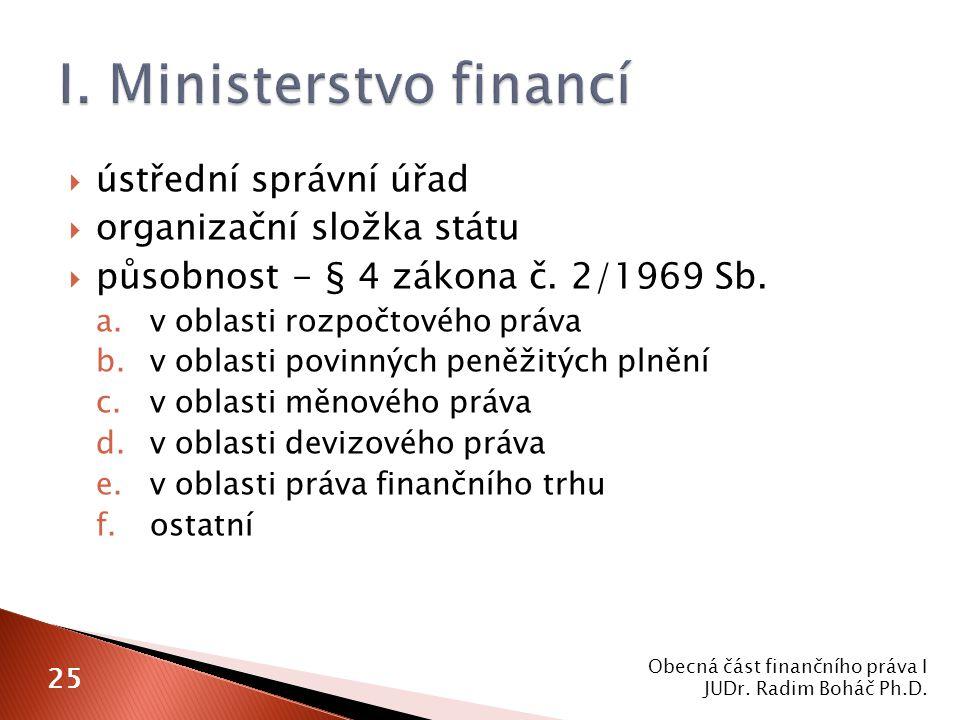  ústřední správní úřad  organizační složka státu  působnost - § 4 zákona č. 2/1969 Sb. a.v oblasti rozpočtového práva b.v oblasti povinných peněžit