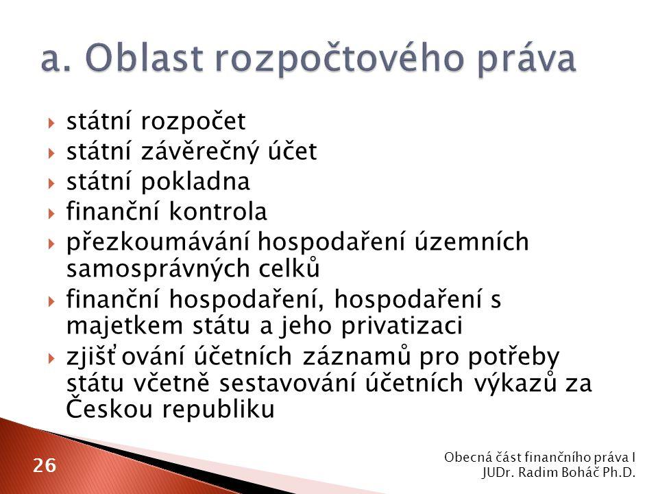  státní rozpočet  státní závěrečný účet  státní pokladna  finanční kontrola  přezkoumávání hospodaření územních samosprávných celků  finanční hospodaření, hospodaření s majetkem státu a jeho privatizaci  zjišťování účetních záznamů pro potřeby státu včetně sestavování účetních výkazů za Českou republiku Obecná část finančního práva I JUDr.