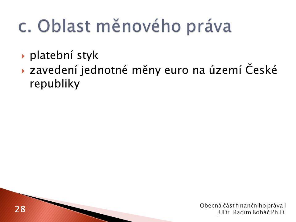  platební styk  zavedení jednotné měny euro na území České republiky Obecná část finančního práva I JUDr.