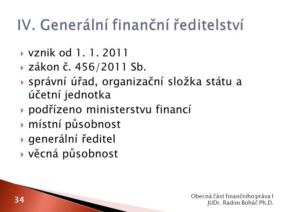  vznik od 1. 1. 2011  zákon č. 456/2011 Sb.  správní úřad, organizační složka státu a účetní jednotka  podřízeno ministerstvu financí  místní půs