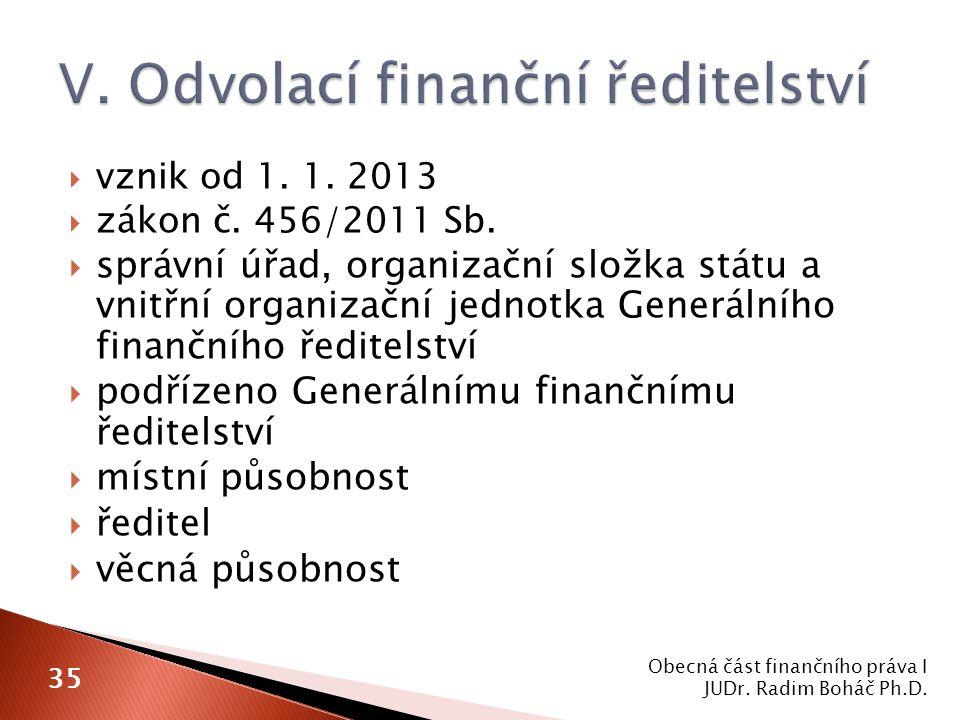  vznik od 1. 1. 2013  zákon č. 456/2011 Sb.