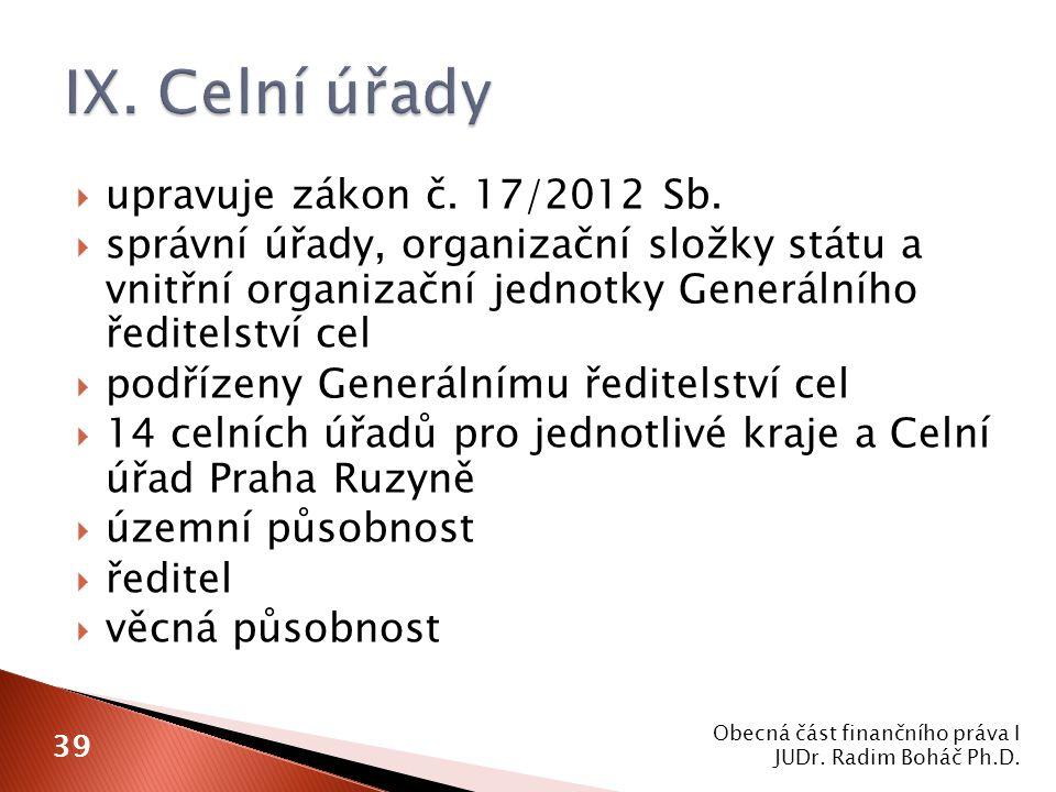 upravuje zákon č. 17/2012 Sb.  správní úřady, organizační složky státu a vnitřní organizační jednotky Generálního ředitelství cel  podřízeny Gener