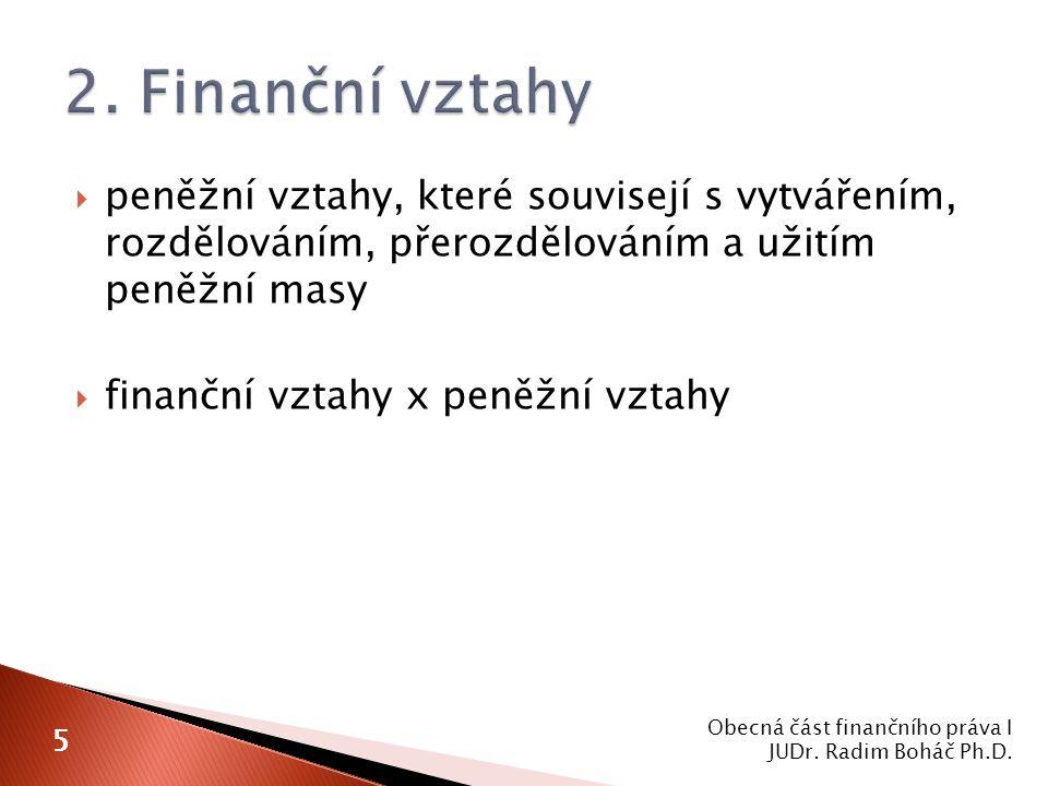  peněžní vztahy, které souvisejí s vytvářením, rozdělováním, přerozdělováním a užitím peněžní masy  finanční vztahy x peněžní vztahy Obecná část finančního práva I JUDr.