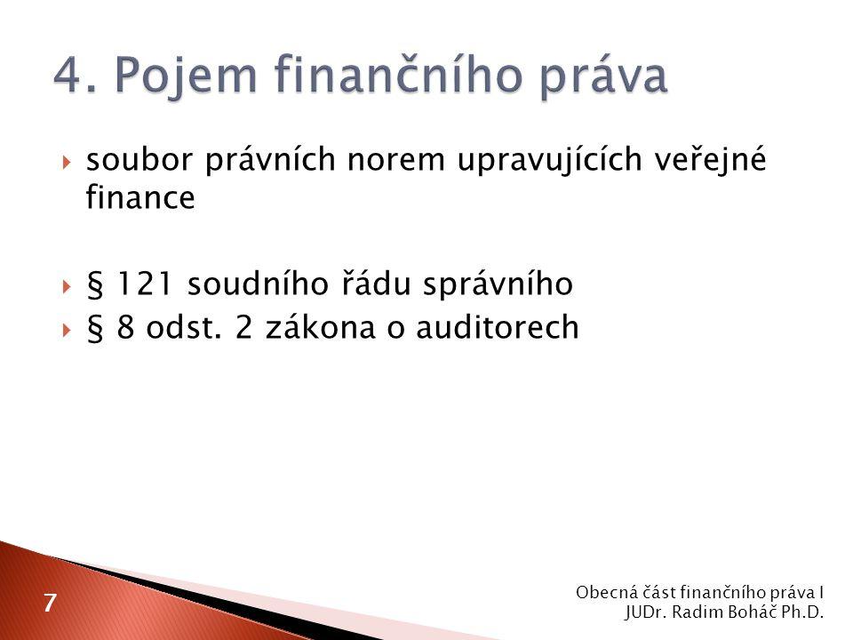  soubor právních norem upravujících veřejné finance  § 121 soudního řádu správního  § 8 odst. 2 zákona o auditorech Obecná část finančního práva I