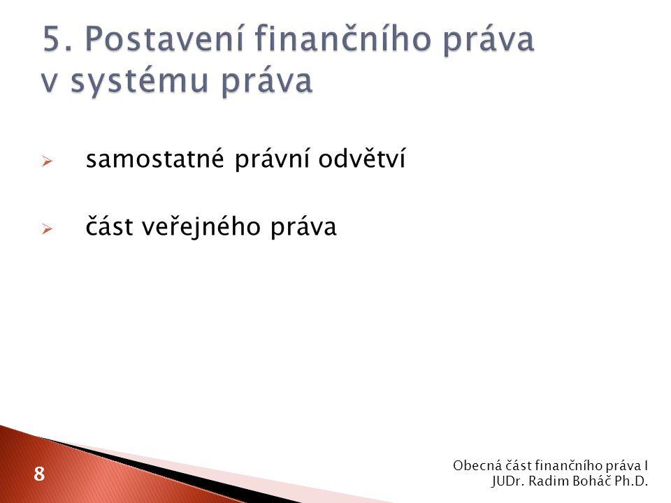  samostatné právní odvětví  část veřejného práva Obecná část finančního práva I JUDr. Radim Boháč Ph.D. 8