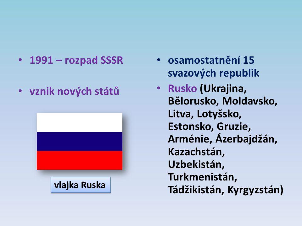 1991 – rozpad SSSR vznik nových států osamostatnění 15 svazových republik Rusko (Ukrajina, Bělorusko, Moldavsko, Litva, Lotyšsko, Estonsko, Gruzie, Ar