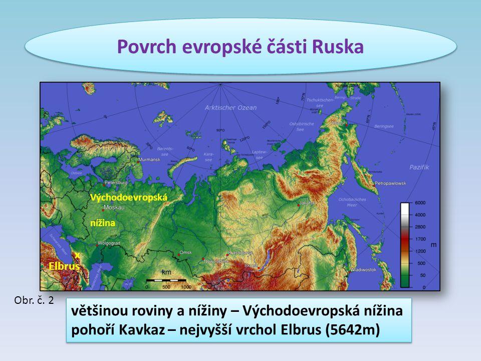 Povrch evropské části Ruska většinou roviny a nížiny – Východoevropská nížina pohoří Kavkaz – nejvyšší vrchol Elbrus (5642m) většinou roviny a nížiny