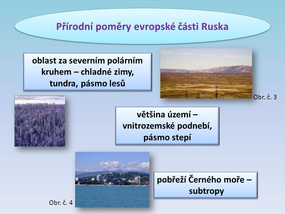 Přírodní poměry evropské části Ruska většina území – vnitrozemské podnebí, pásmo stepí oblast za severním polárním kruhem – chladné zimy, tundra, pásm