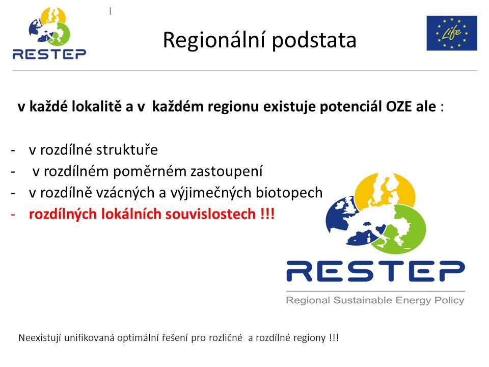 v každé lokalitě a v každém regionu existuje potenciál OZE ale : -v rozdílné struktuře - v rozdílném poměrném zastoupení -v rozdílně vzácných a výjime