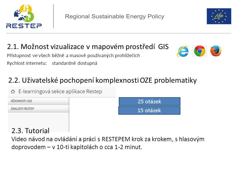 2.1. Možnost vizualizace v mapovém prostředí GIS Přístupnost ve všech běžně a masově používaných prohlížečích Rychlost internetu: standardně dostupná